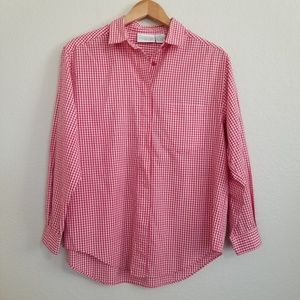 Vintage Nordstrom Town Square Red Gingham Shirt 12